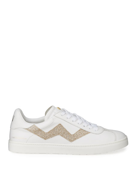 Image 3 of 5: Stuart Weitzman Daryl Leather Low-Top Sneakers with Glitter