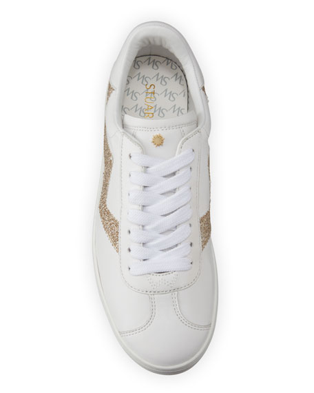 Image 4 of 5: Stuart Weitzman Daryl Leather Low-Top Sneakers with Glitter