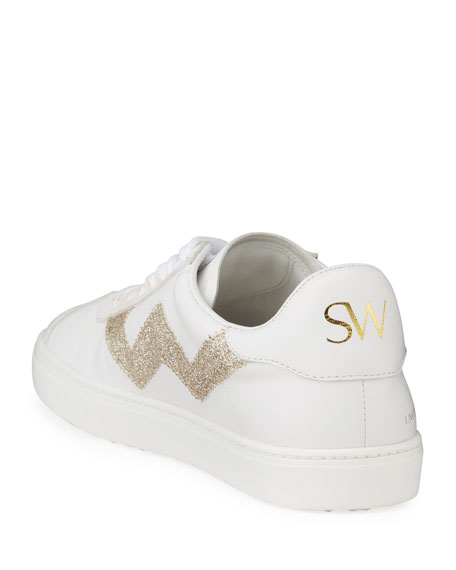 Image 5 of 5: Stuart Weitzman Daryl Leather Low-Top Sneakers with Glitter