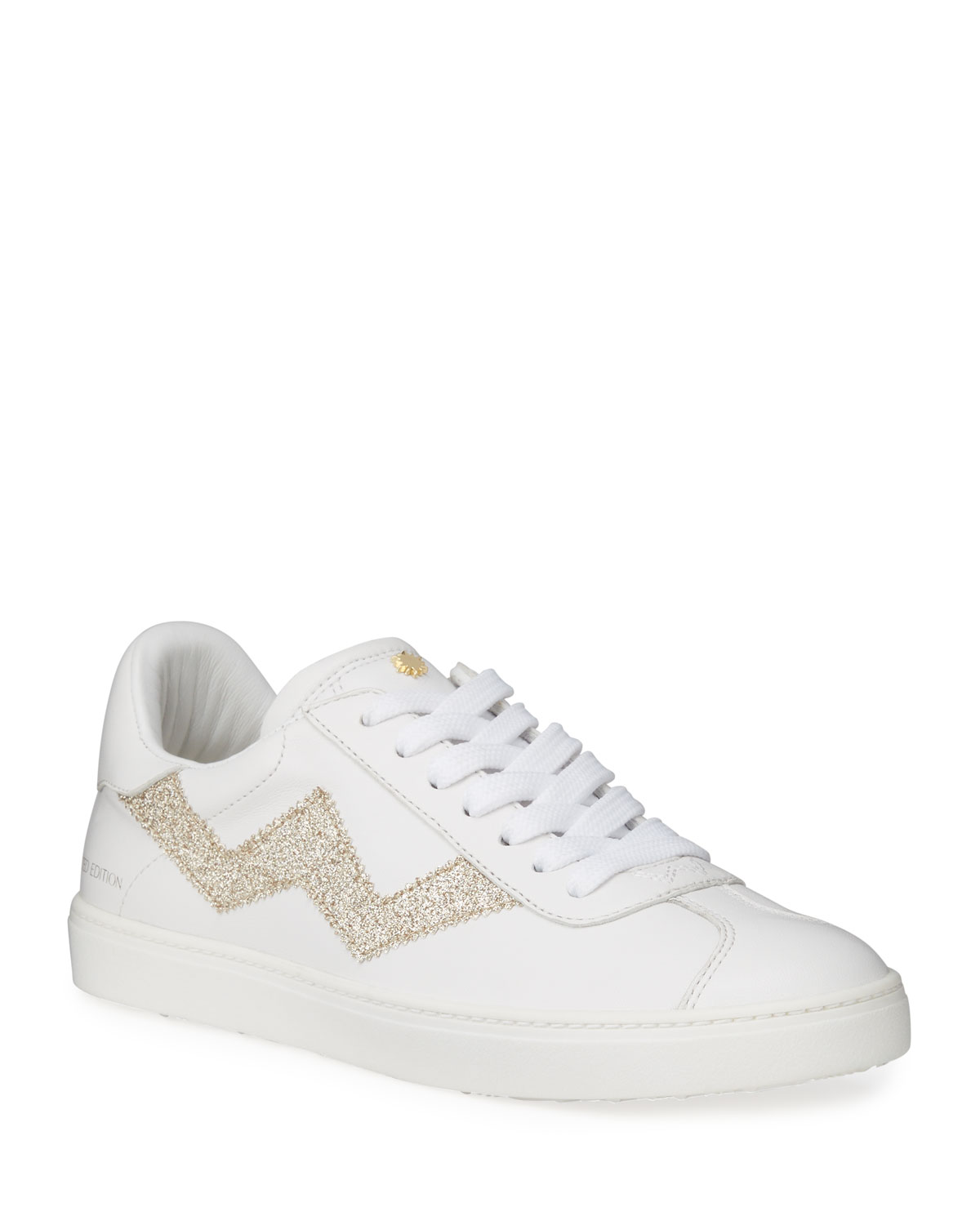 Stuart Weitzman Daryl Leather Low-Top Sneakers with Glitter