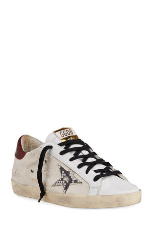 Golden Goose Superstar Canvas/Snake-Print Sneakers $560.00