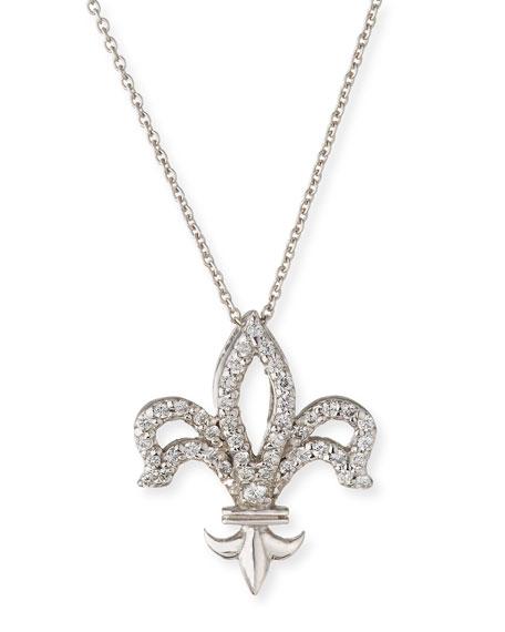 Roberto Coin Fleur-de-lis Diamond Pendant Necklace