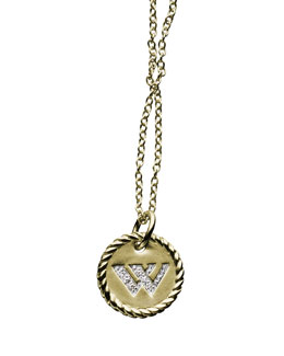 "David Yurman ""W"" Pendant with Diamonds in Gold on Chain"