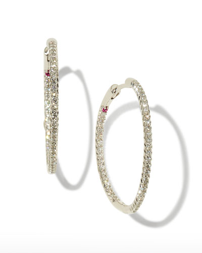 30mm Micro Pave Diamond Hoop Earrings in 18K Yellow Gold