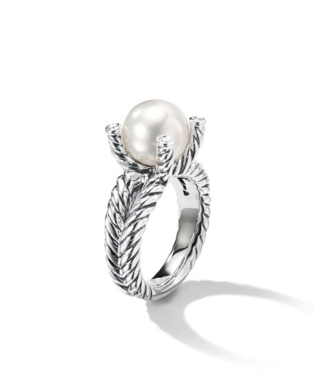 Image 3 of 5: David Yurman Cable Pearl Ring with Diamonds