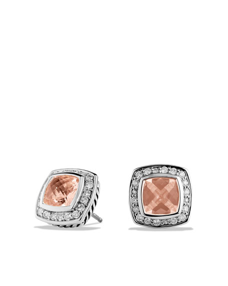 Petite Albion Earrings with Morganite and Diamonds