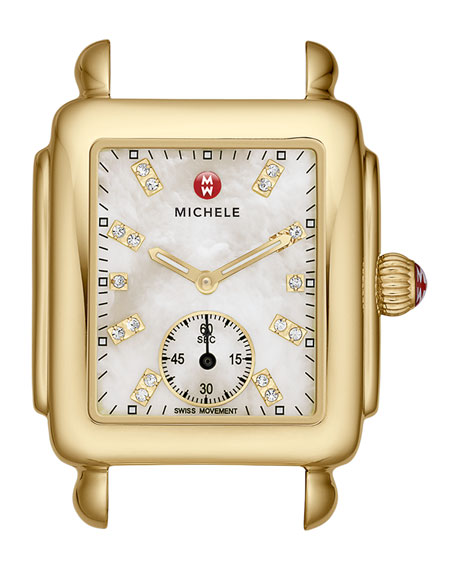 MICHELE Deco Golden-Plate Watch Head & 16mm Navy