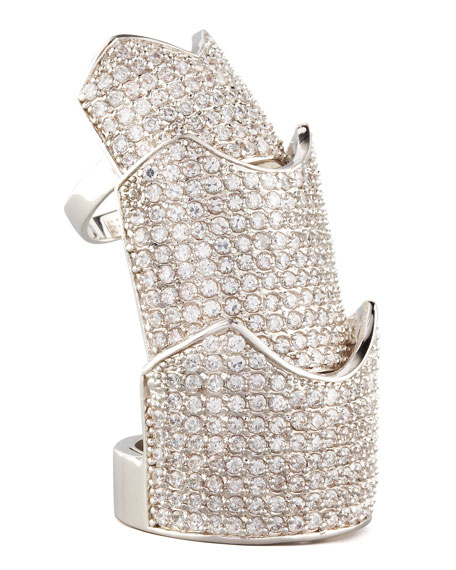 Pave Crystal Hinge Ring, Silver