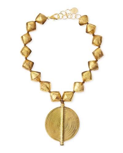 Brass Beaded Pendant Necklace