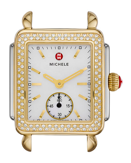 MICHELE 16mm Deco Diamond Watch Head, Two-Tone