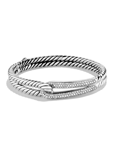 Labyrinth Single-Loop Bracelet With Diamonds in White/Silver