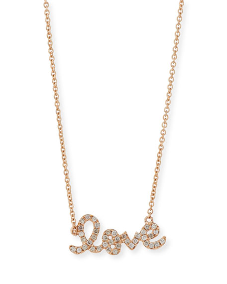 Rose Gold Diamond Love Necklace, Small