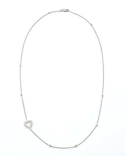 18k White Gold Heart Diamond Necklace