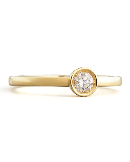 18k Yellow Gold Diamond Solitaire Station Ring