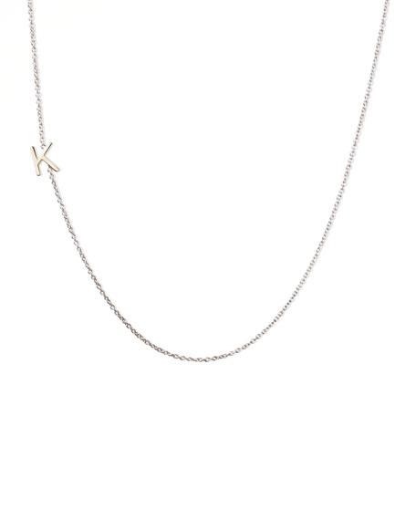 14k White Gold Mini Letter Necklace