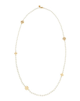 Tory Burch Evie Long Logo-Station Pearly Necklace