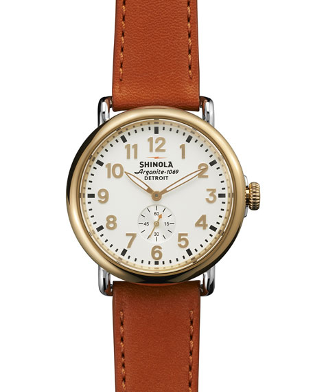 The Runwell Yellow Gold Watch with Orange Leather Strap, 41mm