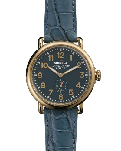 The Runwell Yellow Golden Watch with Teal Leather Strap, 41mm