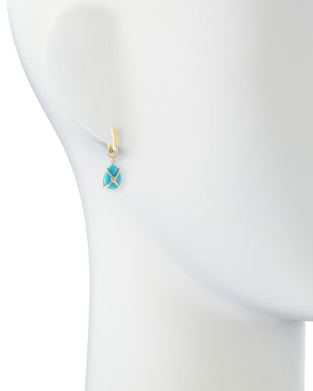 Wrapped Turquoise Earring Charms with Diamonds