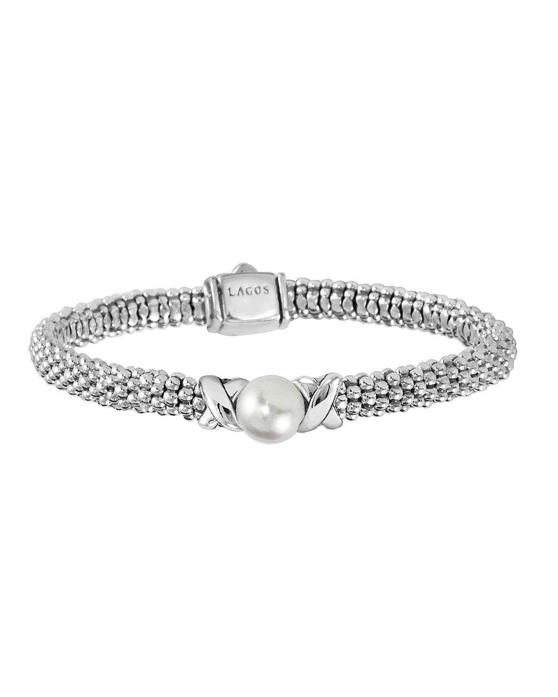 Lagos Luna 8mm Pearl Amp 6mm Caviar Rope Bracelet Neiman