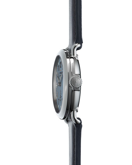 The Runwell Stainless Steel Slate Watch with Leather Strap, 36mm
