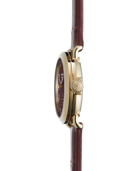 The Runwell Yellow Golden Burgundy Watch with Alligator Strap, 36mm