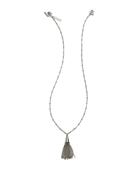 Eddie Borgo Small Silvertone Chain Tassel Pendant Necklace
