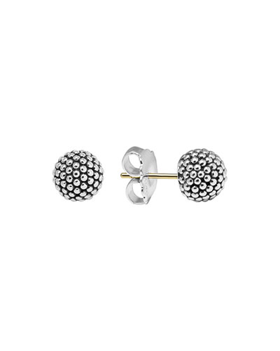 Silver Columbus Circle Stud Earrings