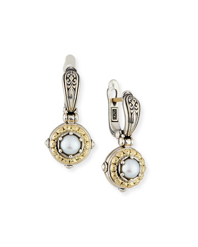 Konstantino Silver Gold Pearl Drop Earrings