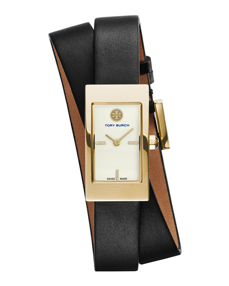Tory Burch Watches Buddy Signature Double-Wrap Watch, Black