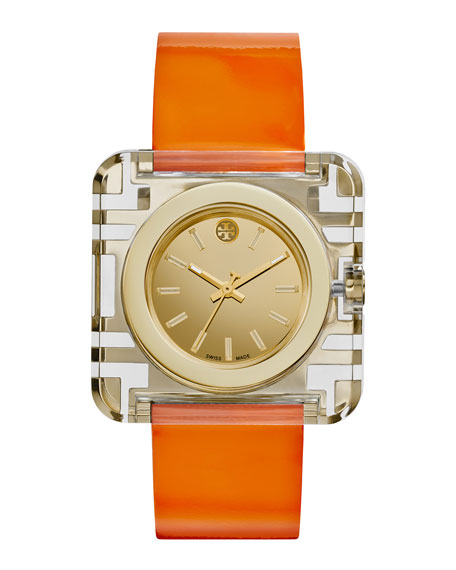 Tory Burch Watches Izzie Leather-Strap Golden Watch, Orange
