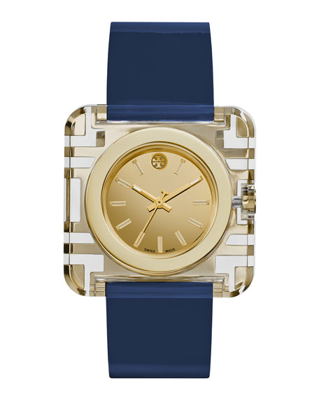 Tory Burch Watches Izzie Leather-Strap Golden Watch, Navy