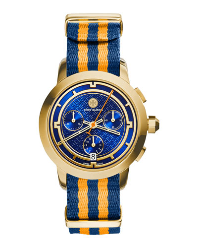 Tory Chronograph Fabric-Strap Watch, Orange/Navy