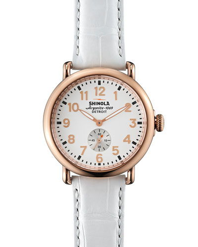 Runwell Rose Golden Watch with Alligator Strap, 41mm