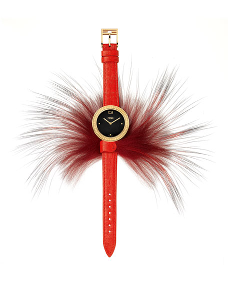Fendi My Way Watch with Removable Fur Glamy, Red/Black