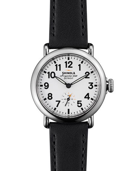 Shinola Runwell Watch with Black Leather Strap, 36mm