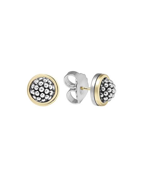 Lagos 10mm Caviar Button Stud Earrings
