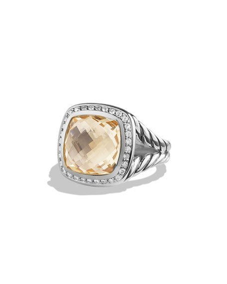 David Yurman 11mm Albion Faceted Citrine Ring w/Diamonds