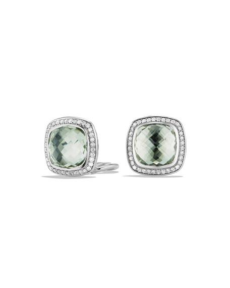 David Yurman 11mm Albion Prasiolite Stud Earrings with Diamonds