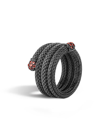 John Hardy Lava Coil Ring with Red Sapphire,