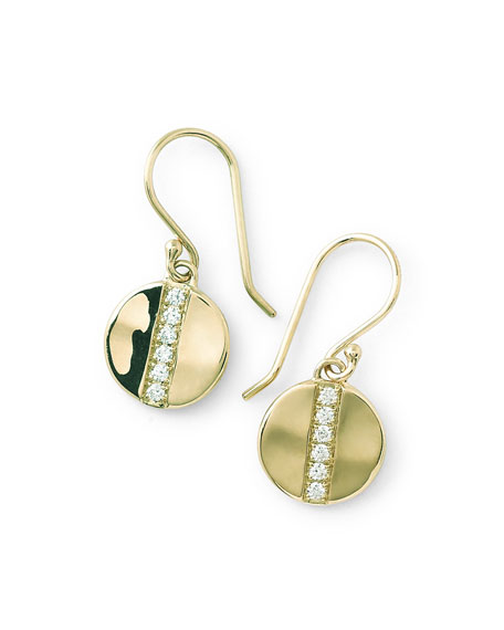 18K Gold Senso™ Small 8mm Disc Earrings with Diamonds