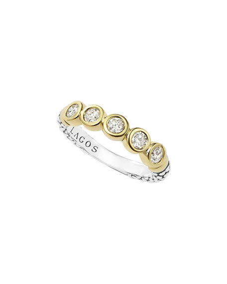 Lagos 18k Gold/Silver Caviar 5-Diamond Stacking Ring, Size