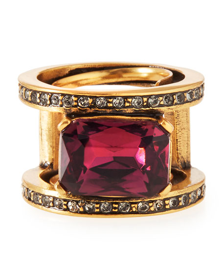 Image 1 of 2: VIOLET OCTAGON STONE RING