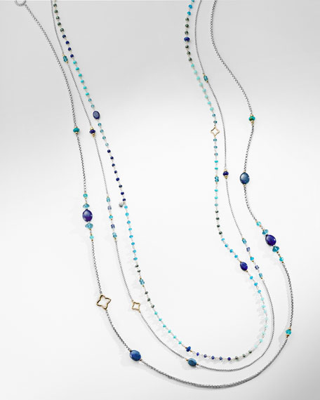 """Spring Bead Layering Necklace, 82"""""""