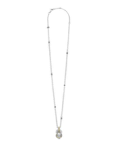 Image 2 of 3: Lagos Newport 18K Gold Diamond Rope Pendant Necklace
