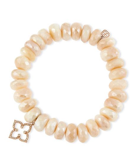 Sydney Evan Pink Moonstone Faceted Rondelle Bracelet w/