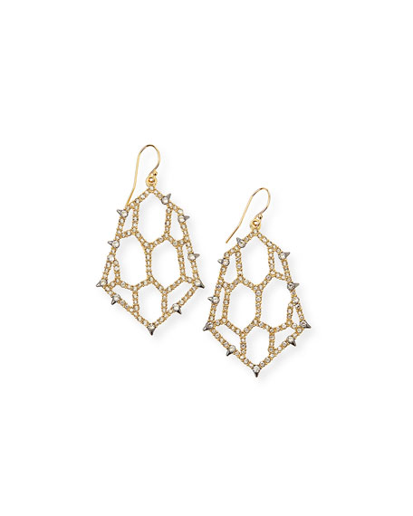 Alexis Bittar Crystal Honeycomb Wire Drop Earrings