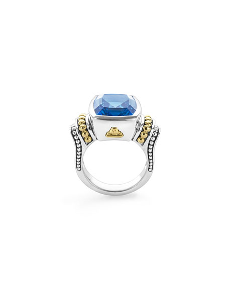 Lagos Caviar Color 14mm Blue Topaz Ring, Size 7