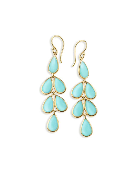 18K Polished Rock Candy Teardrop Earrings