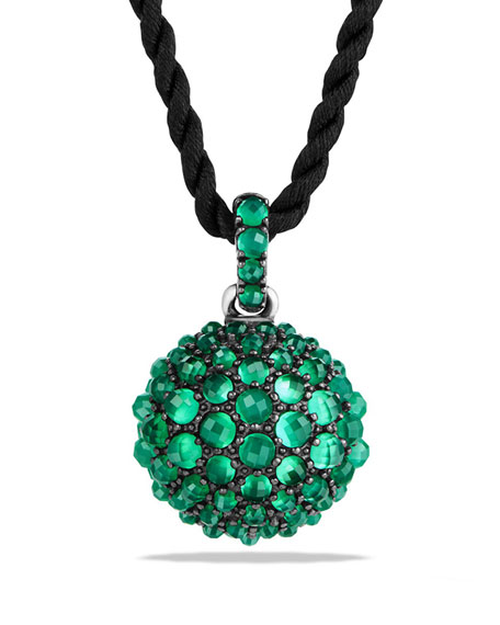 """David Yurman 20mm Osetra Faceted Green Onyx Pendant Necklace, 42"""""""